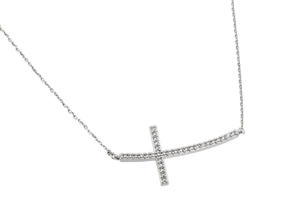 Side Way Cross Necklace in Sterling Silver